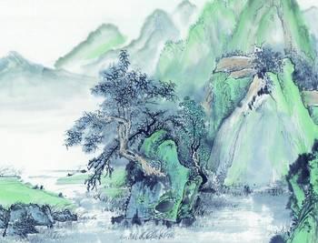 简单的国画写意山水画图片图片