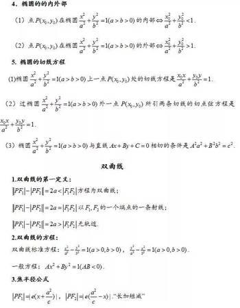 椭圆,双曲线,抛物线的重点知识归纳和常用结论
