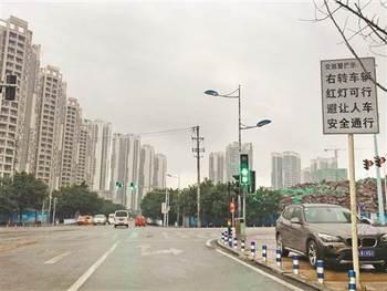 大学城至德路上十字路口红绿灯指示不够明确. 记者 颜若雯 摄