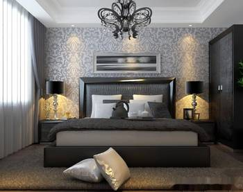 黑白灰色调卧室装修效果图-冷色调效果图