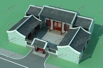 房屋设计图简介:中式三合院风格别墅设计图,古典复古,造价约22万左右