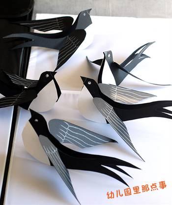 幼儿园硬卡纸立体手工之春天里的小燕子