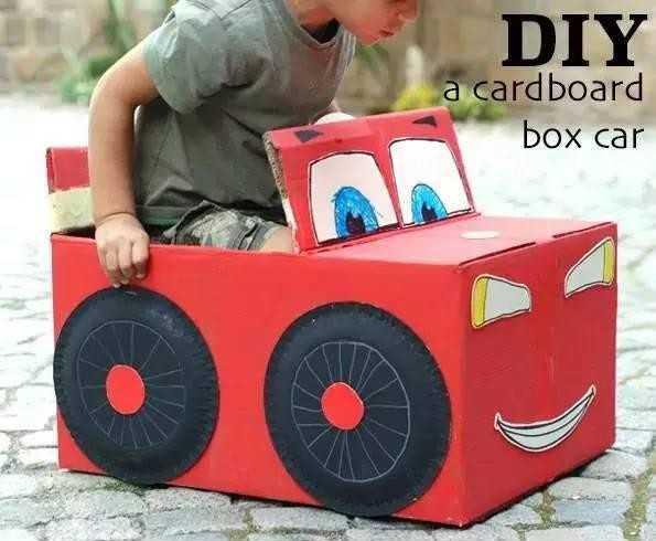 手工纸箱小汽车做法 幼儿园自制纸箱汽车制作图片