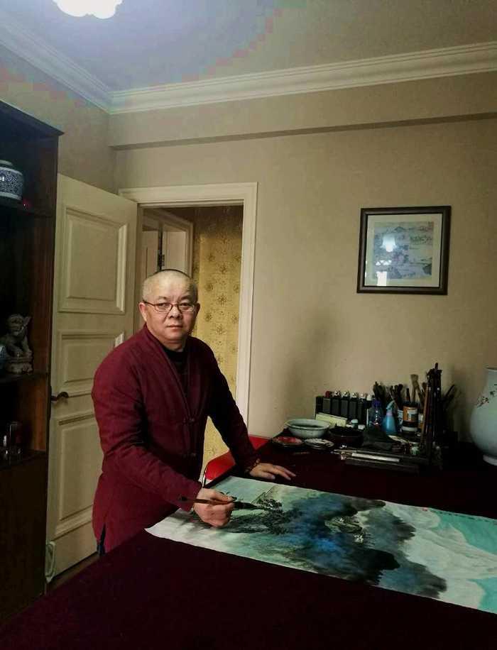 《锦绣山河》著名青绿山水画画家邓小林图片