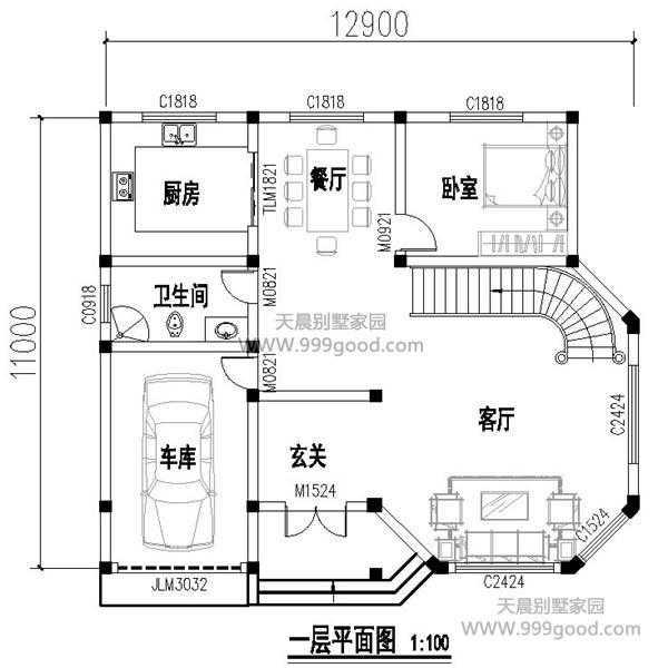 高层两层别墅设计图平面图,11x12.9米带车库农村v高层建筑设计排版图片