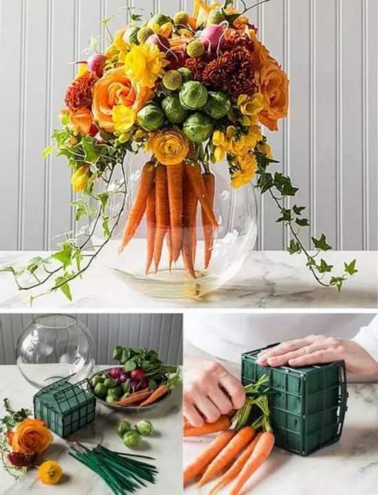 这些花篮都是用吃不完的蔬菜做的,比真花都好看图片