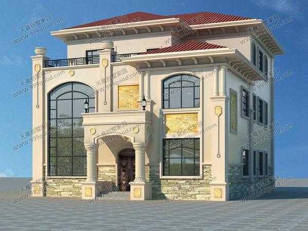 房屋设计图简介: 本套别墅为欧式豪华三层别墅设计图,复式结构带露台