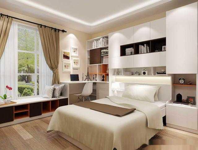 书桌与飘窗柜床头柜一体化设计,书桌设计在转角处,与书柜拼接,简单图片