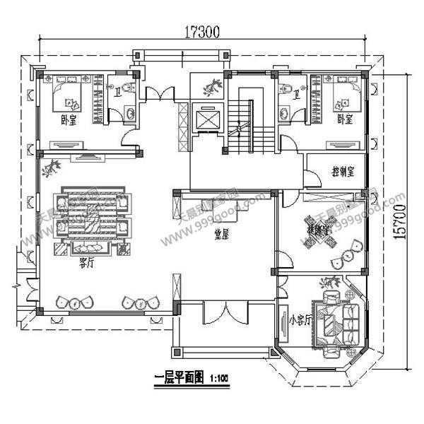 农村15.7x17.3米豪华三层别墅设计图