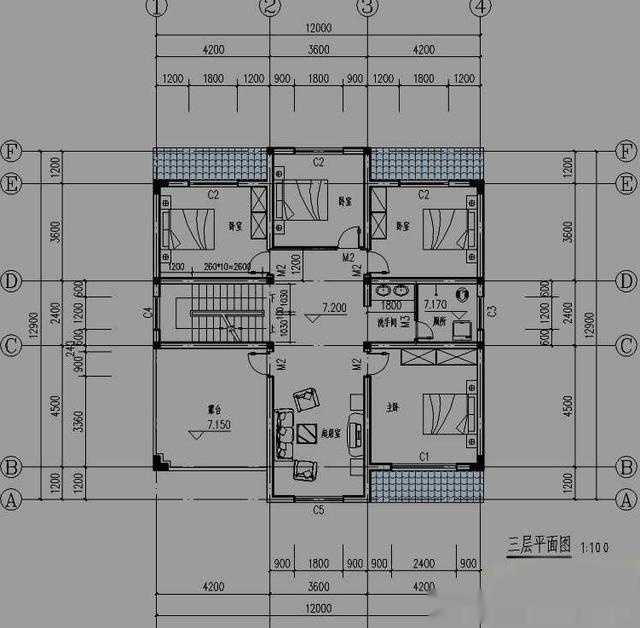 送上一套140平方米新农村房屋设计图,12x13米