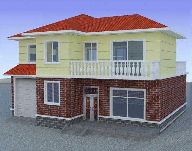 二层农村自建房设计图纸,12x11米主体20万效果图+平面