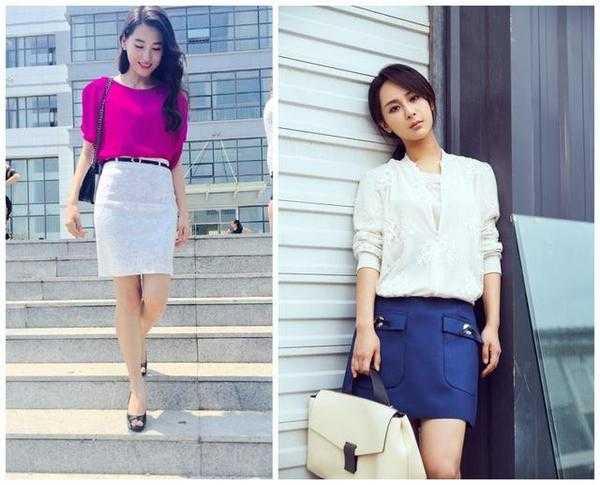 深蓝色配枚红色_玫红色上衣搭配白色短裙,性感美艳,女人味十足;杨紫白衬衫搭配蓝色