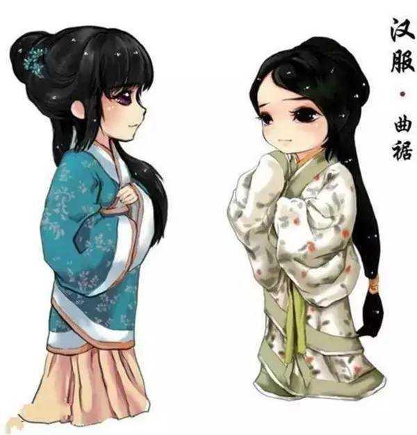 汉朝曲裾女子手绘