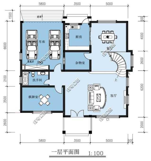 新农村别墅户型 楼中楼旋转楼梯露台套间双车库 含平面图图片