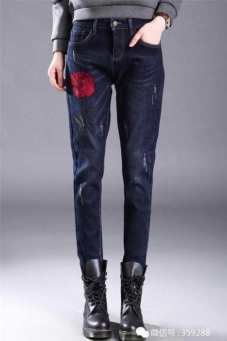 加绒牛仔裤女宽松休闲哈伦裤冬季黑色长裤子刺绣图案加厚小脚棉裤
