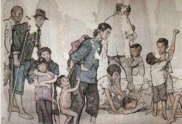 蒋兆和《流民图》:灾黎遍野,亡命流离,老弱无依,贫病交集