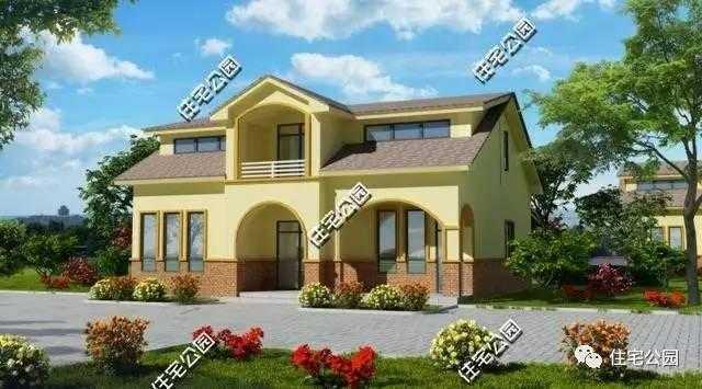 6米农村二层别墅设计图 宽640×480高 农村欧式三层别墅设计图带院落