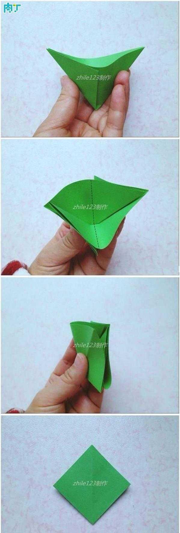 圣诞树的手工折纸制作方法 立体折纸圣诞树步骤图解