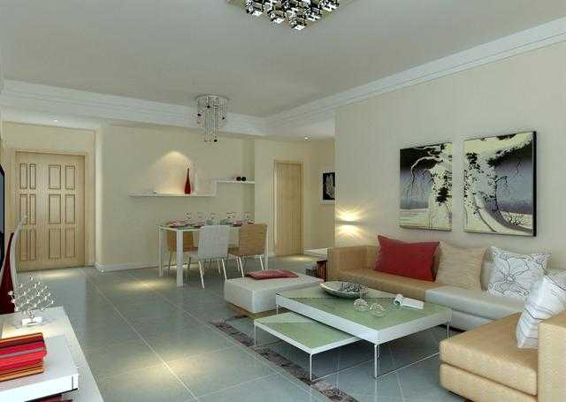 客厅装饰很简单,没做吊顶就做普通的石膏线,暖色墙面和地板瓷砖刚好
