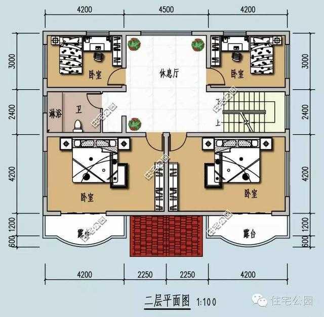 农村13x9米欧式弧形露台自建房,经典好户型 含图纸图片