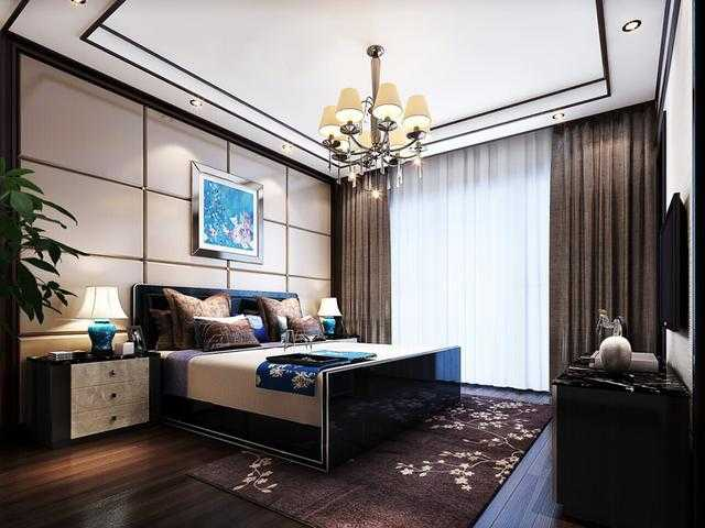 新中式风格卧室吊顶床头软包背景墙设计效果图