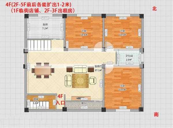 要开始弄5层的自建房了,先发户型图,店面,出租,自住混用