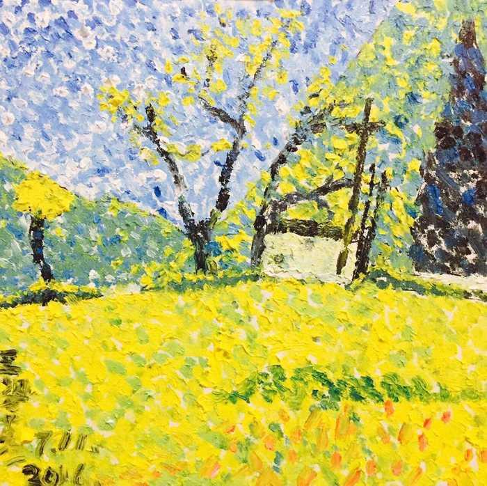 王姿蕴-7岁-油画-《点彩风景》