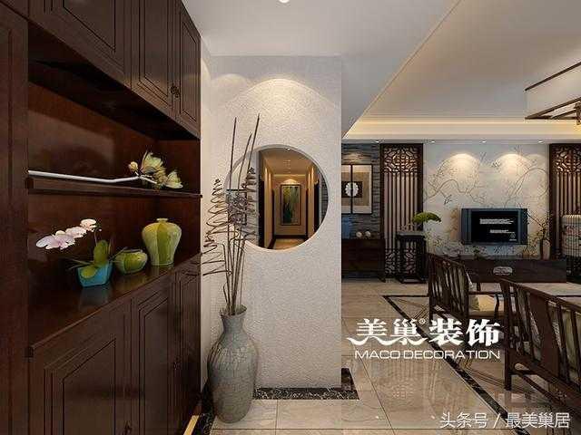 裕鸿世界港190平三房户型装修效果图 中式实木诠释历史青石