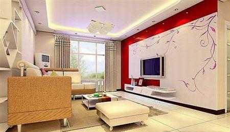客厅电视墙装修图片:紫色背景墙给客厅提高亮度