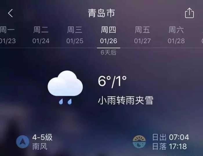 七的青岛天气预报