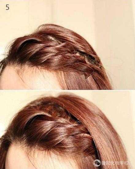 采用麻花辫的编发一边编头发一边均匀的添加头发.图片