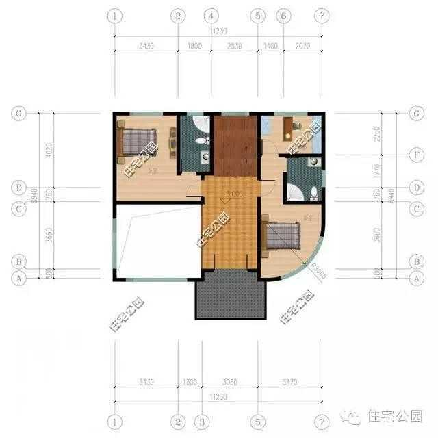 农村盖房子,11x8米3层别墅最是经典,挑空客厅好大气!