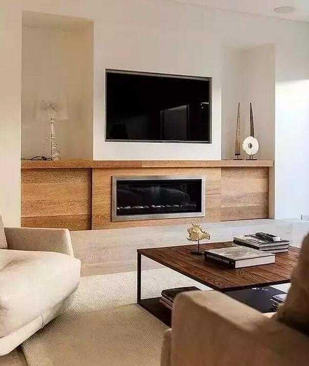 电视嵌入墙壁里,与墙壁合为一体成为背景的一部分.图片
