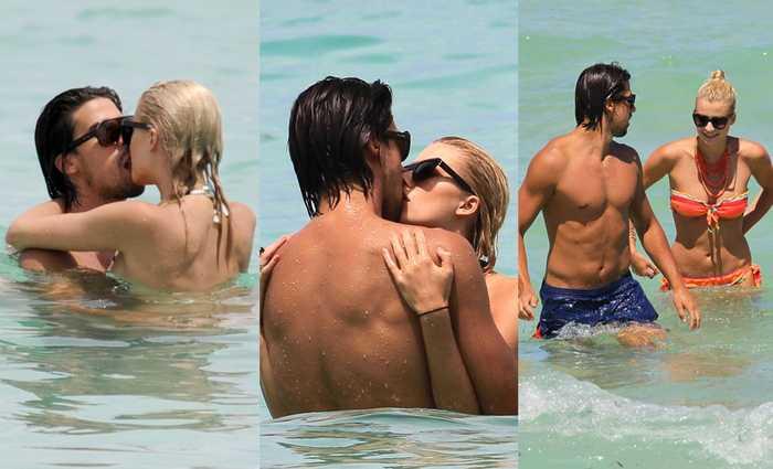 四天后依然在迈阿密的海滩上,赫迪拉不惧狗仔,忘情与女友亲吻.