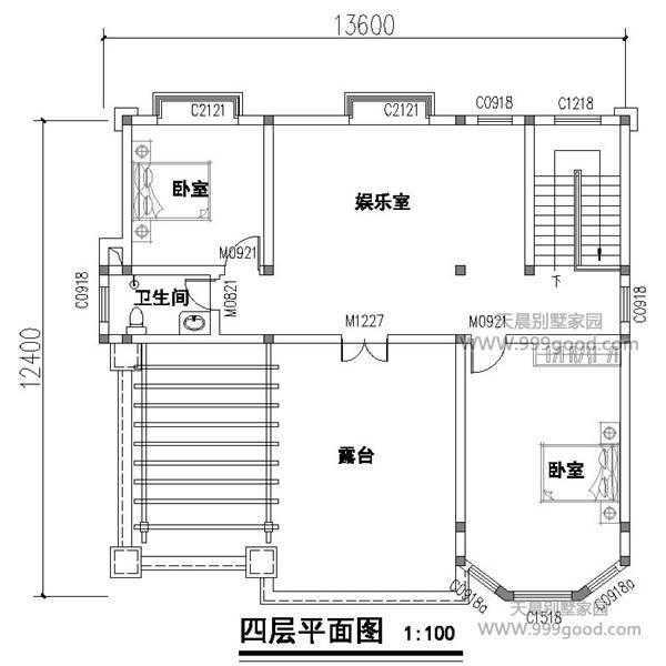 12.4x13.6米别墅设计图平面图,四层霸气欧式豪华风图片