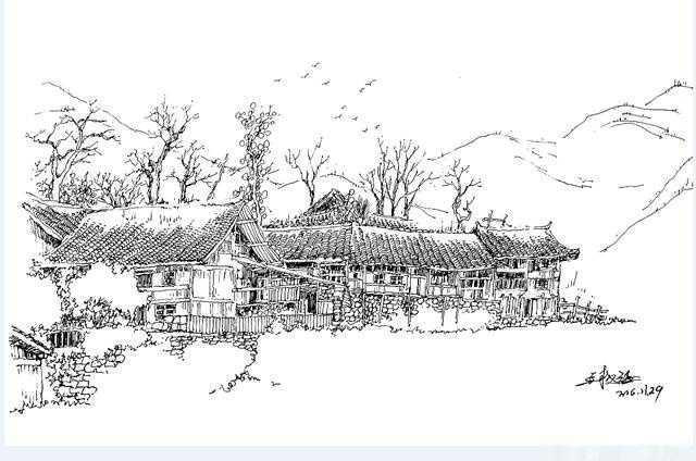 零基础快速提高风景速写--屋舍的画法(农家步骤