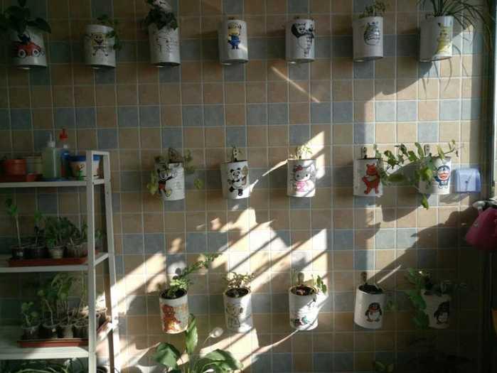 家庭装饰我用奶粉罐做花盆,老公为这也是拼了