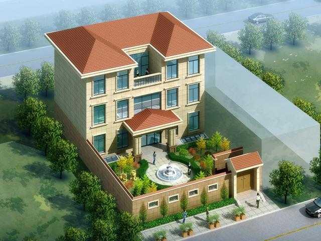 农村自建三层别墅带庭院24.5x16.4米设计图+平面图!图片