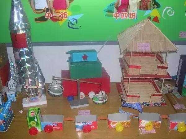 幼儿园环保手工制作:废旧材料制作的小房子