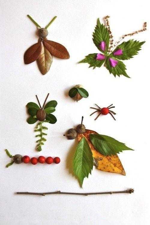 1,落叶拼出小动物 对树叶进行剪裁,拼贴后,再进行绘