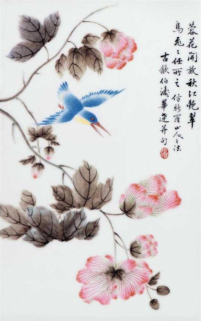 如毕氏粉彩瓷板画《双鸟鸣春》,以小写意的手法绘阳春三月中的碧桃