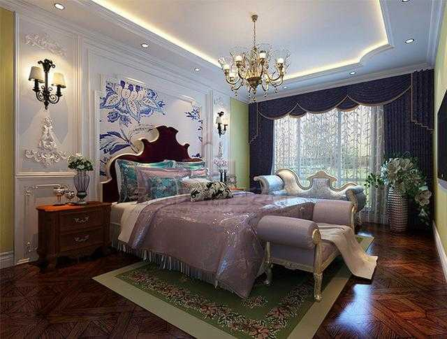 深色系地板搭配经典欧式家具,完全可以hold住欧式的整体风格,地毯也起