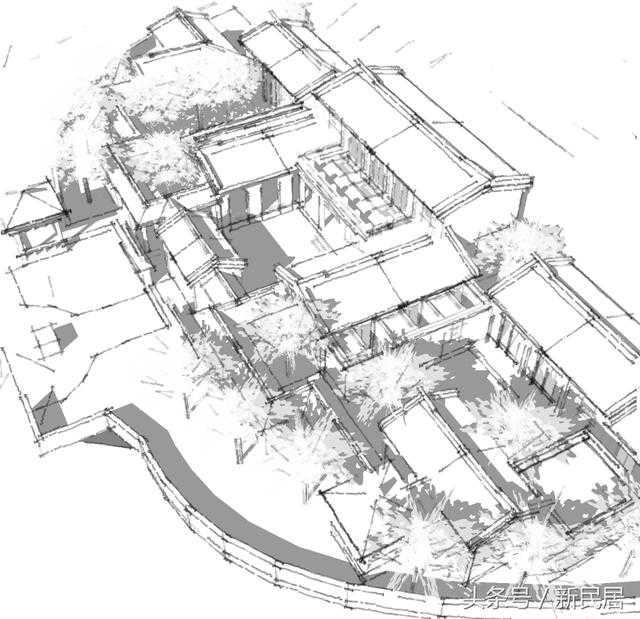 """这个中式四合院设计项目是新民居旗下""""24建筑""""的实际案例,整体风格有"""
