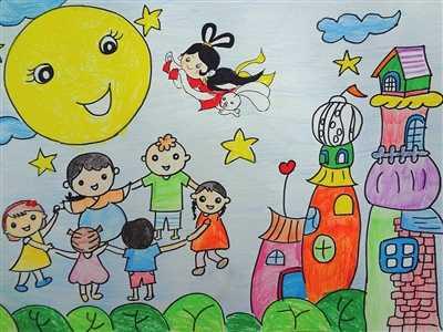 《中秋佳节庆团园》(蜡笔画)李子婧农林路小学五年级(2)班图片