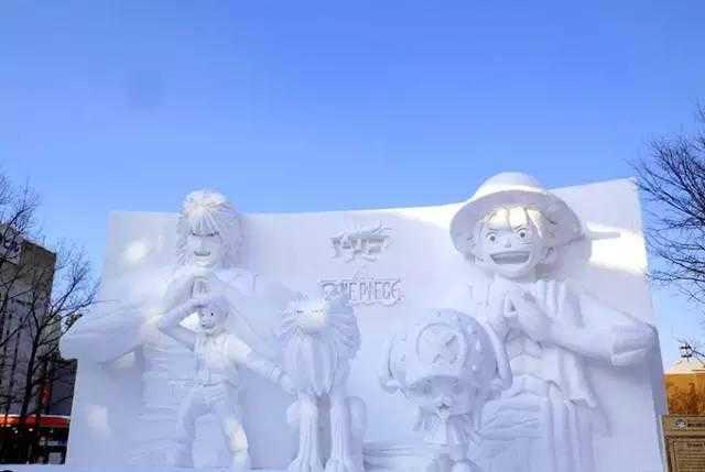 2月初在札幌的大通公园有冰雪节,雪雕形象有很多日本动漫经典人物.图片