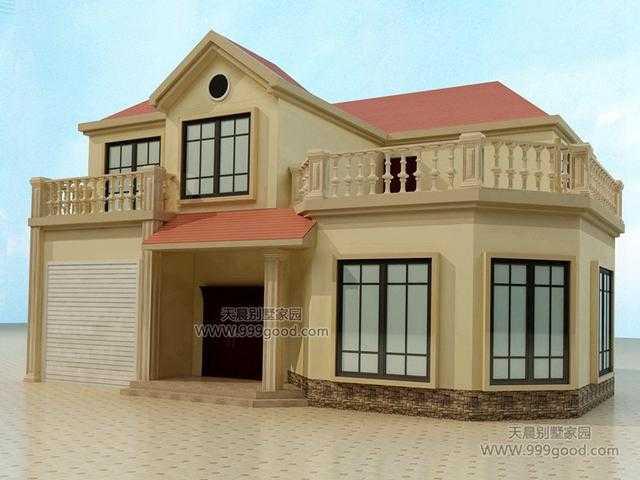 农村两层别墅设计图 平面图,11x12.9米带车库