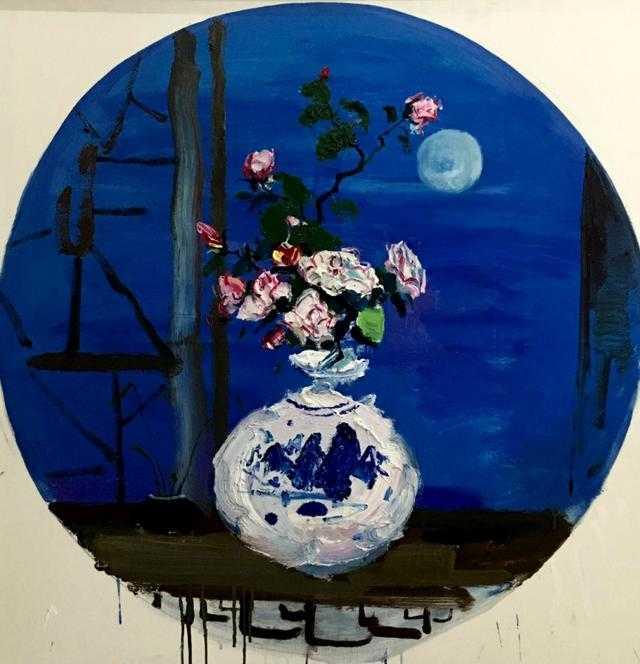 花好月圆   油画,100*100cm