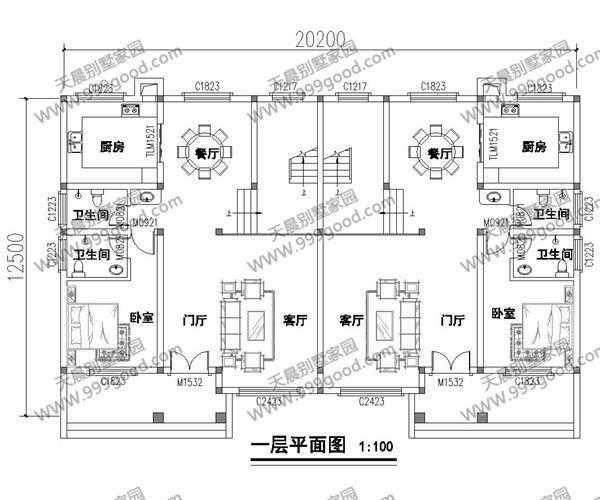 农村经典双拼别墅设计图,12.5x20.2米超经济!图片