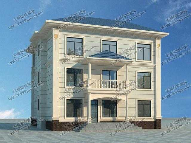 新农村三层欧式别墅设计图,12.5x13.9米带车库落地窗