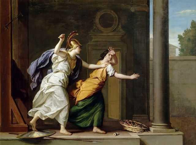 雅典娜失手杀害了阿拉克尼想起地母盖亚的预言,